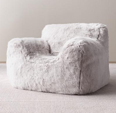Luxe Faux Fur Bean Bag Chair Grey Fox
