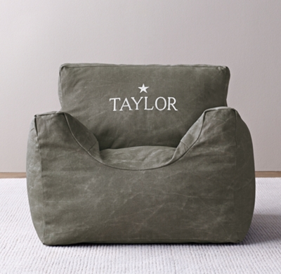 Distressed Canvas Bean Bag Chair Cover Charcoal – Personalized Bag Chairs