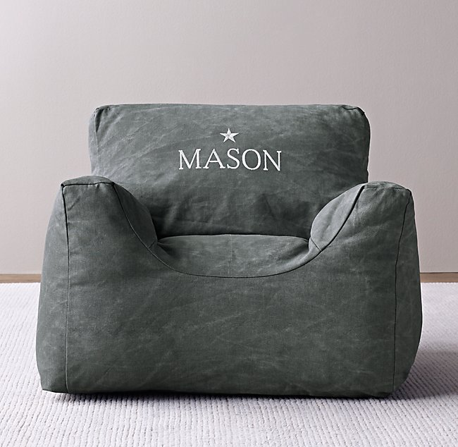 Marvelous Distressed Canvas Bean Bag Chair Cover Blue Pabps2019 Chair Design Images Pabps2019Com