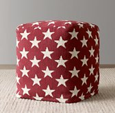 Liberty Star Pouf - Red