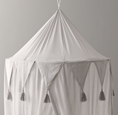 & Cotton Voile Play Canopy - Grey