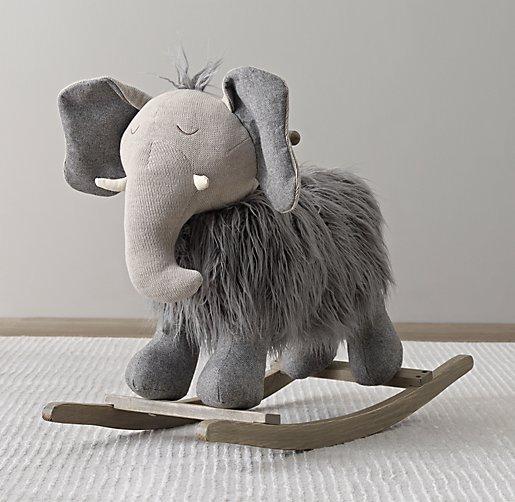 Wooly Plush Animal Rocker Elephant