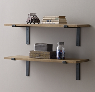 Industrial Plank Shelf Brackets Set Natural
