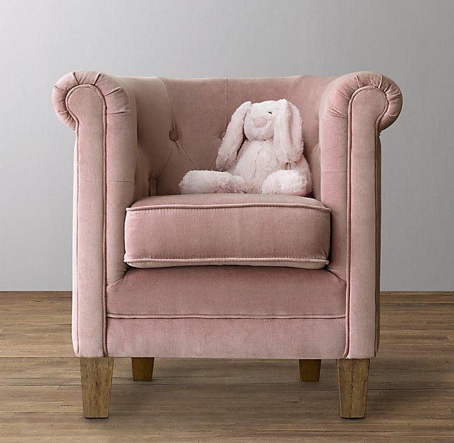 Mini Tufted Tub Velvet Chair