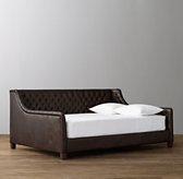 Devyn Tufted Leather Daybed with aged espresso leg