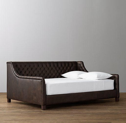 boys day bed devyn tufted leather daybed aged espresso 10933