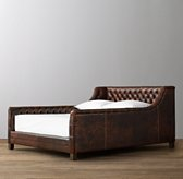 Devyn Tufted Leather Bed with aged espresso leg