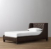 Devyn Tufted Leather Wing Bed - Aged Espresso