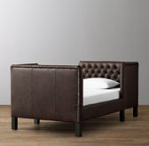 Devyn Tufted tête-à-tête Leather Bed with aged espresso leg