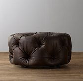 Mercer Tufted Leather Round Ottoman