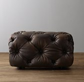 Mercer Tufted Leather Square Ottoman