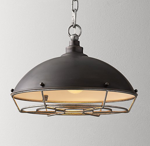 Industrial Caged Pendant With Rivets: Industrial Caged Pendant