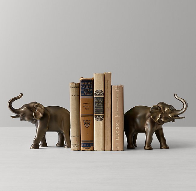 Elephant Bookends - Antiqued Brass