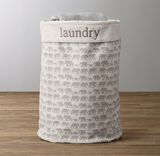 Nursery Canvas Hamper Grey Elephant