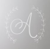 Wreath Letter Wall Decal - White