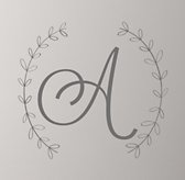 Wreath Letter Wall Decal - Grey