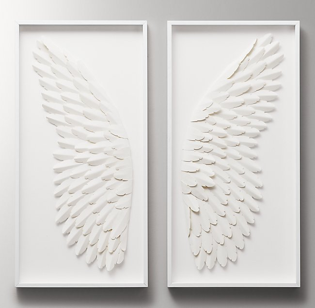 Hand Folded Paper Angel Wing Art