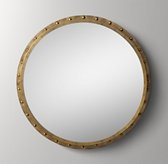 Antiqued Riveted Round Mirror - Antique Brass