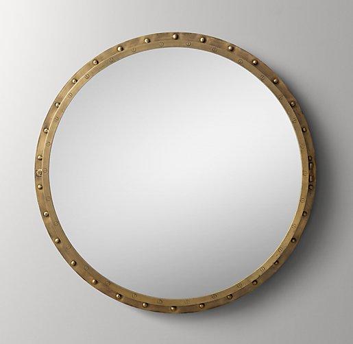 Antiqued Riveted Round Mirror Antique Brass