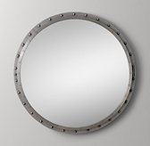 Antiqued Riveted Round Mirror Pewter