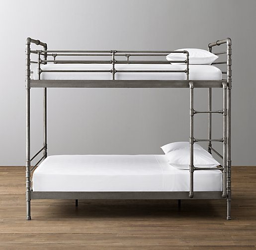 Industrial Steel Pipe Full Over Full Bunk Bed