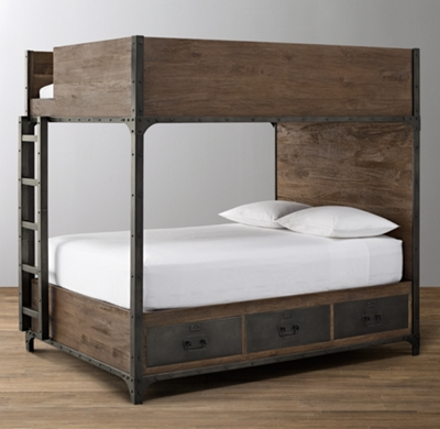 Industrial Locker Full-Over-Full Storage Bunk Bed