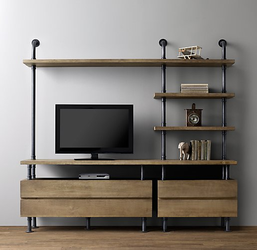 Very Industrial Pipe Media Shelving EU75