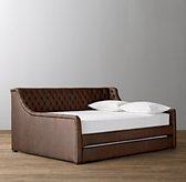 Devyn Tufted Leather Daybed With Trundle - Aged Espresso