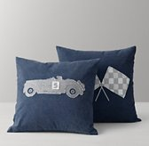 Vintage Race Day Appliqué Pillow Cover & Insert