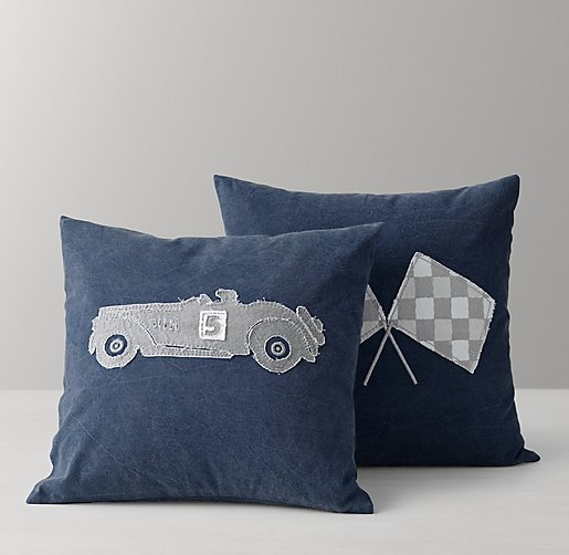 Vintage Race Day Appliqu 233 Pillow Cover Amp Insert