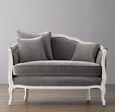 "47"" Ondine Velvet Salon Bench - Aged White"