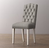 Tufted Camelback Velvet Desk Chair - Aged White