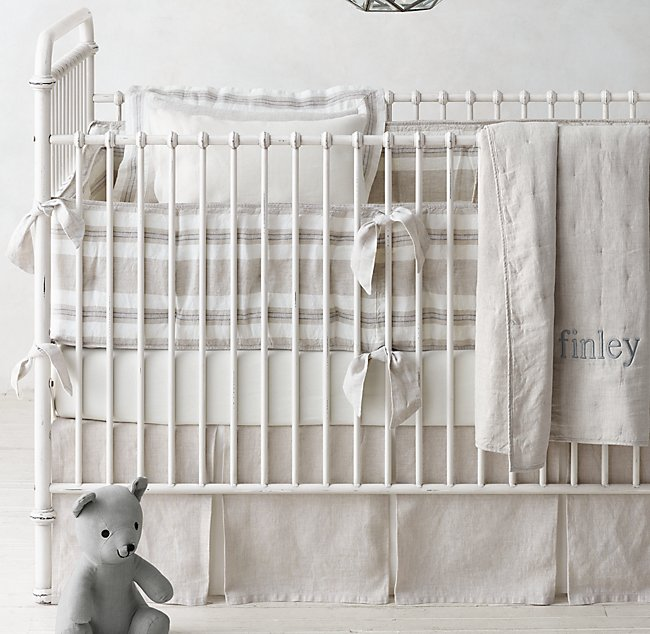 Washed Organic Linen Stripe Nursery Bedding Collection