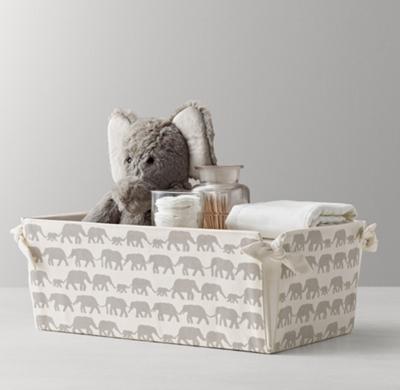 Nursery Canvas Storage Caddy Grey Elephant