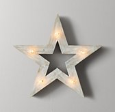 Illuminated Wooden Marquee Medium Star - Weathered White