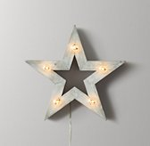 Illuminated Wooden Marquee Small Star - Weathered White