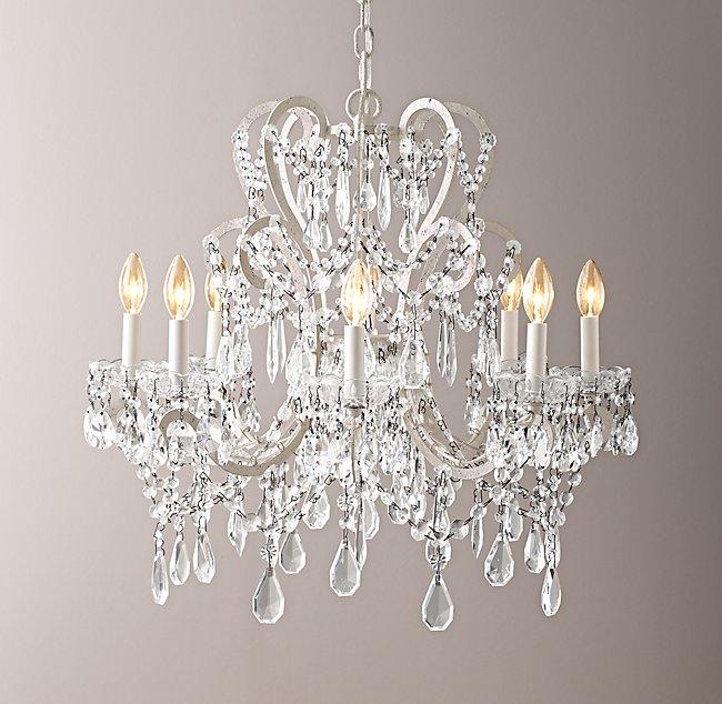 - Manor Court Crystal 8-Arm Chandelier - Vintage White