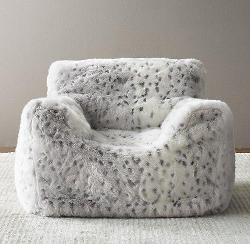 Luxe Faux Fur Bean Bag Chair Grey Snow Leopard