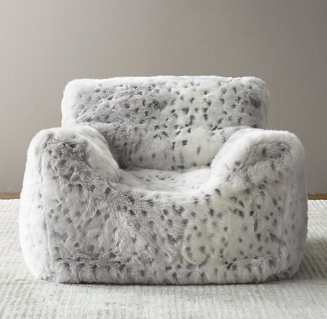 c150cbb002 Luxe Faux Fur Bean Bag Chair - Grey Snow Leopard