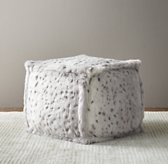 Luxe Faux Fur Square Pouf - Grey Snow Leopard