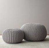 Metallic Knit Cotton Round Pouf - Dove