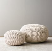Metallic Knit Cotton Round Pouf - Natural