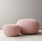 Metallic Knit Cotton Round Pouf - Petal