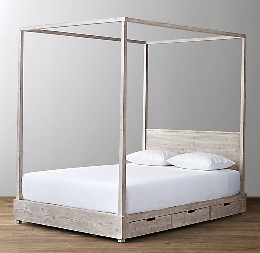 Canopy With Storage : Callum drawer storage canopy bed
