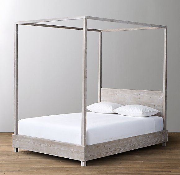 Callum Canpony Bed with headboard and white sheets/pillow