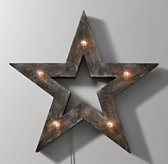 Illuminated Wooden Marquee Large Star - Weathered Grey