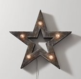 Illuminated Wooden Marquee Medium Star - Weathered Grey