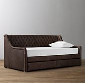 Devyn Tufted Leather 2-Drawer Storage Daybed - Washed Grey