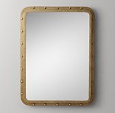 Antiqued Riveted Dresser Mirror - Antique Brass