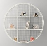 Industrial Wire Cubby Round Shelf - White